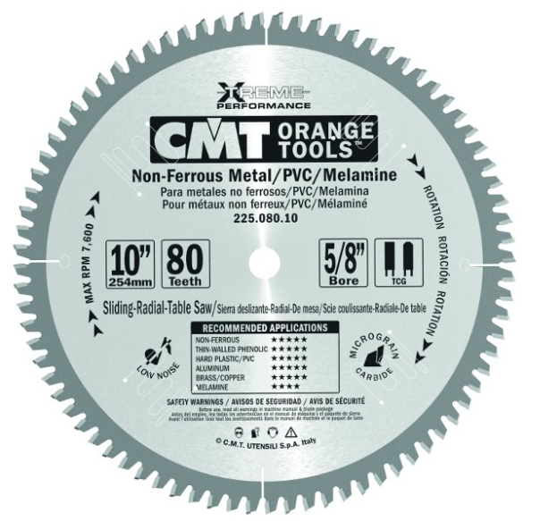 CMT INDUSTRIAL NON-FERROUS METAL, PVC & MELAMINE SAW BLADE
